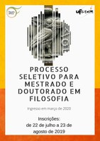 Processo seletivo para mestrado e doutorado do PPGFil-UFSCar (ingresso em 2020).